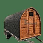 Sauna zewnętrzna ogrodowa drewniana na przyczepie